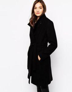 Shop Reiss Collarless Belted Coat at ASOS. Black Winter Coat, 17 Black, Belted Coat, Wardrobe Basics, Reiss, Fashion Online, What To Wear, Winter Fashion, High Neck Dress