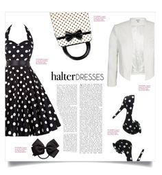 """Polka Dot Halter Dress"" by pink-roosje ❤ liked on Polyvore featuring City Chic and halterdresses"