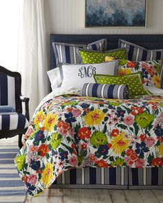 """Pine Cone Hill """"Preppy"""" Bed Linens at NM. Dream Bedroom, Home Bedroom, Bedroom Decor, Bedrooms, Bedroom Ideas, Master Bedroom, Linen Bedding, Bedding Sets, Bed Linens"""