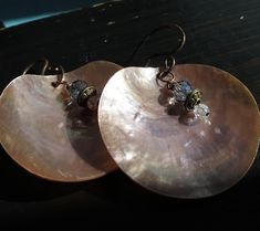 NEW.  Champagne Pink Mussel shell Dangle Earrings. BERTIE. With handmade 18g Oxidized Copper  ear wires and decorative accent dangles