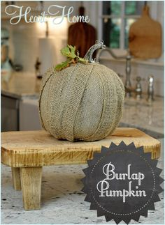 Burlap Pumpkins.  Robin with All Things Heart and Home says:  this is super easy and doesn't require any messy cutting of burlap. I used burlap ribbon to wrap a pumpkin from Walmart… see! Couldn't be easier! You'll Need: Styrofoam Based Pumpkin(mine was a pumpkin from Walmart),Burlap Ribbon, Floral Pins & Glue Gun,  See Tutorial...