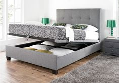 Kaydian Walkworth Ottoman Storage Bed - Smoke Fabric - Ottoman Beds - Storage Beds - Beds £549