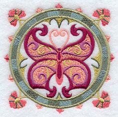 "Suzani Spring Butterfly Medallion	Product ID:	F2072 Size:	3.84""(w) x 3.84""(h) (97.5 x 97.5 mm)	Color Changes:	12 Stitches:	26800	Colors Used:	9"