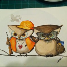 Custom couple owl painting by ArtbySarahEngland on Etsy, $120.00