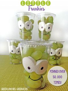Little Frankies: A healthy Halloween Snack idea from Green Lunches, Green Kids! Love the grapes!