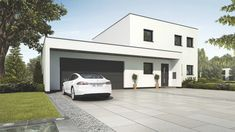 Bauhaus, Small House Plans, Architecture, Ideas Para, Facade, Garage Doors, Villa, Mansions, House Styles