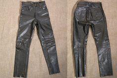 Vintage Buffalo Black Leather Motorcycle Pants by JustGiza on Etsy
