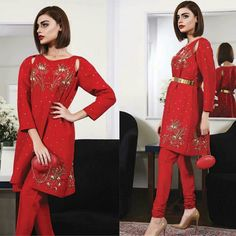 Beautiful Red Embroidered Dress For Eid Collection of #MuseLuxe! ❤ #MuseLuxe #LuxuryStyle #HotOfTheRamp #EidCollection17 #SadafKanwal #PakistaniCouture #PakistaniFashion #PakistaniModels #PakistaniCelebrities ✨