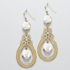 White Rose Chandelier Earrings on Emma Stine Limited