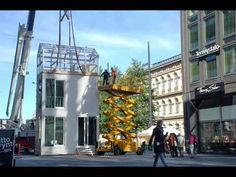 TIKKU is a micro-apartment building with a foot-print of one car parking place x 5 meters. It is assembled out of CLT cross-laminated timber spatial modules and can be erected on site overnight at any car-city of the world. Off Grid Tiny House, Micro House, Tiny House Cabin, Tiny House Living, Tiny House On Wheels, Micro Apartment, Tiny Apartments, Wooden Barbie House, Heat Recovery Ventilation
