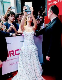 Emma Watson with fans during 'The Circle' Premiere at Cinema UGC Normandie on June 21, 2017 in Paris, France