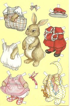 Bunny Printable Paper Doll with Clothes / Mostly Paper Dolls Paper Dolls Printable, Paper Animals, Vintage Paper Dolls, Little Doll, Vintage Easter, Paper Toys, Vintage Cards, Easter Crafts, Doll Toys