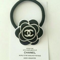 Black camellia flower hair tie band New.Complimentary card not include. Flowers In Hair, Flower Hair, Chanel Camellia, Chanel Makeup, Coco Chanel, Hair Ties, Hair Band, Makeup Brushes, Ponytail