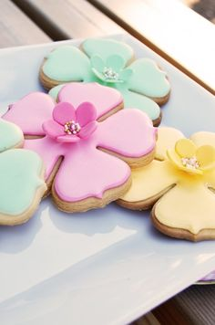 Yummy Pastel Pink Blue and Yellow Heart Shaped Cookies