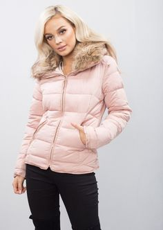 e358475bf158 Lily Lulu Fashion · New Season · Brown Faux Fur Collar Quilted Padded  Puffer Jacket Coat Dusty Pink