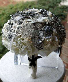 Black and white brooch wedding bouquet