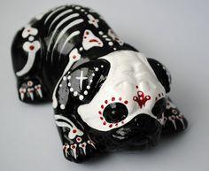 Day of The Dead Painted Sugar Skull Dog Statue Pug Bulldog Puppy Figurine Muerto | eBay