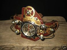 New Steampunk Watch Direction: Asymmetry, Big Gears: New Items From Olga Clock Works watch style Steampunk Gadgets, Steampunk Clock, Steampunk Watch, Steampunk Design, Steampunk Accessories, Steampunk Clothing, Steampunk Fashion, Steampunk Outfits, Steampunk Furniture