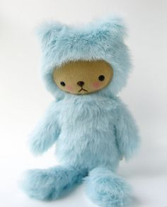 Kawaii Teddy Bear Plushie Baby Blue Faux Fur Large by bijoukitty, $39.00  Who can resist?