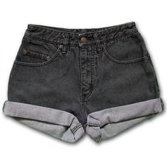 Vintage 80s Pepe Dark Black Gray Wash High Waisted Rise Cut Offs... (97 PEN) ❤ liked on Polyvore featuring shorts, bottoms, pants, high-waisted denim shorts, denim shorts, black denim shorts, vintage high waisted shorts and jean cutoff shorts