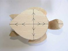 Woodworking Tips The highest point of the shell is marked where the two lines cross and the arrows indicate the direction of cuts Easy Wood Projects, Cool Woodworking Projects, Woodworking Workbench, Popular Woodworking, Woodworking Furniture, Fine Woodworking, Woodworking Basics, Woodworking Patterns, Whittling Wood