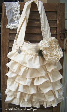 Ruffled French-inspired Tote Bag with Rose Pin