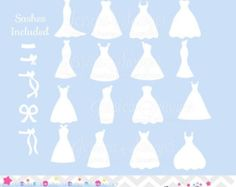 Instant download wedding dress clipart silhouette clipart for instant download bridesmaid dresses silhouettes clipart silhouette clipart for greeting cards announcements scrapbooking junglespirit Choice Image