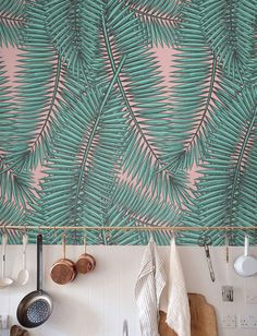 Palm leaf Wallpaper, Removable Wallpaper, Self-adhesive Wallpaper, Tropical Wall Décor, Jungle Wallcovering -