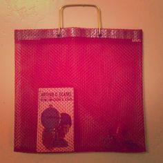 """vintage plastic tote/shopper. Brass handles. This is so adorable. Tote measures 14"""" tall by 15"""" wide. Open netting polyurethane - cherry red. Versatile bag! Library bag, day tote, beach tote - shopper! Vintage Bags Totes"""