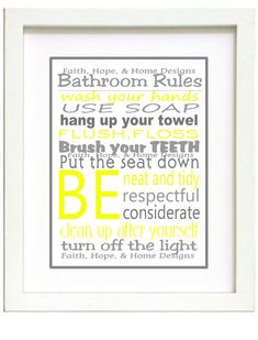 Grey and Yellow Bathroom Rules Wall Art Poster by FaithHopeNHome