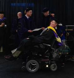 Ron Miller of Norfolk, Virginia, who has ALS, graduated, with honors, from Excelsior College with an associate's degree in liberal arts. Image courtesy of Shelby Tudor