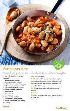 SPILLING THE BEANS: Here's a secret to staying healthy: stew packed with vitamin A, protein and fibre! Food Network Recipes, Whole Food Recipes, Vegan Recipes, Yummy Recipes, Recipies, South African Recipes, Ethnic Recipes, Plant Based Whole Foods, Good Food