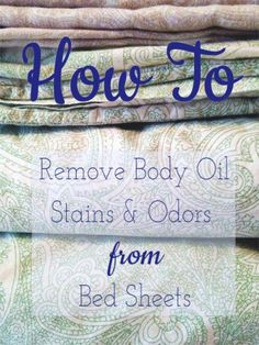 How to remove body oil stains and odors from bed sheets. My face is so oily that my pillow case gets kinda yucky! body pillow How to Remove Body-Oil Stains and Odors From Bed Sheets Deep Cleaning Tips, House Cleaning Tips, Diy Cleaning Products, Cleaning Solutions, Spring Cleaning, Cleaning Hacks, Diy Hacks, Cleaning Recipes, Speed Cleaning