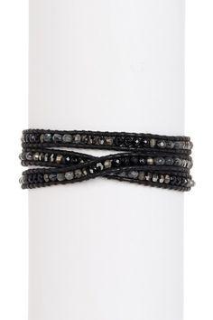 Chan Luu Multi Beaded Wrap Bracelet, Onyx Mix