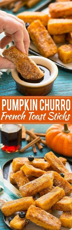 Light and fluffy pumpkin french toast sticks coated in cinnamon sugar. They're super fun to eat and they taste like a churro!