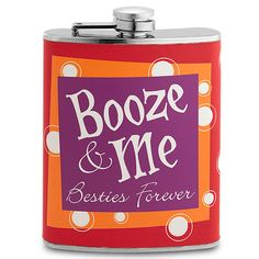 Booze & Me Flask This is a party flask if I've ever seen one. This stainless steel body flask features playful graphics and a captive lid so can't lost it, even if you try. Dimensions: x x Bar Tools, Bar Accessories, You Tried, Flasks, Barware, Lost, Graphics, Stainless Steel, Canning