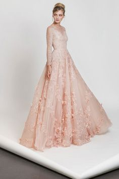 4116857a6a6 Tony Ward RTW I Style 06 I Powder pink A-line embroidered tulle dress with  long sleeves and an embroidered bust
