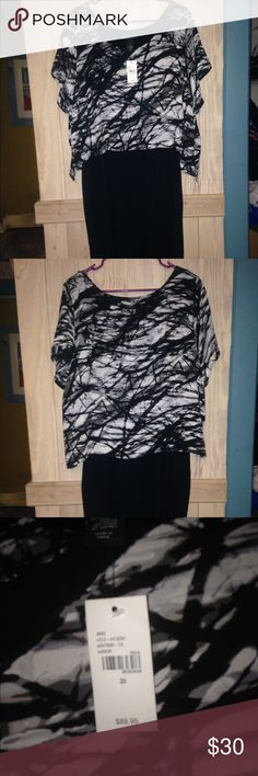NWT Lane Bryant black dress size 20 Great NWT Lane Bryant 2 piece dress. Black sheath dress with sheer overlay black white and grey print. Looks wonderful on, pictures do not do it justice. Size 20 Lane Bryant Dresses