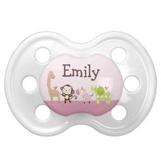 Personalized Jungle Jill/Girl Animals Pacifier - Click artist's link for more cute items.
