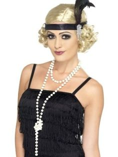 20er Jahre Perlenkette Charleston Kette weiß 180cm Damenkette Perlen Kette Kostüm Accessoires: Amazon.de: Spielzeug