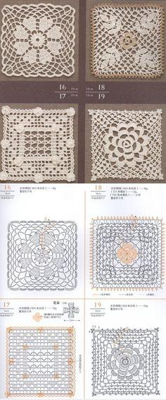Crochet Lace Squares Nr 16, 17, 18, 19