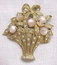 1940's Basket Pin with Pink Moonglow and Rhinestones
