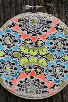 neon painted lace doily