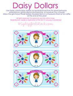 Daisy Dollars and Brownie Bucks Free - Mighty Girls Rock Scout Mom, Girl Scout Swap, Girl Scout Leader, Girl Scout Troop, Girl Scout Daisy Petals, Daisy Girl Scouts, Girl Scout Daisies, Girl Scout Daisy Activities, Girl Scout Crafts
