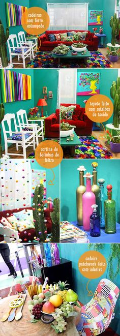 Seriously living the bright colors, so fun & cheery!  Would love to do this is one room or maybe the patio someday!?