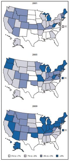 maps of asthma prevalence by state in 2001, 2005, and 2009