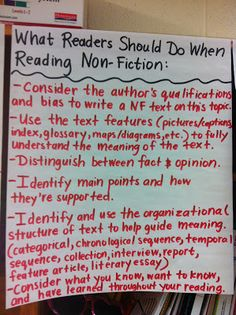 Anchor Chart: What should readers do to successfully access a non-fiction text?