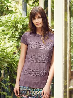 Jumo - This longer length ladies summer top features in the Softyak DK collection, designed by Marie Wallin has a keyhole neck detail and lace bands making it suitable for the knitter with some experience. Rowan Knitting, Summer Knitting, Knit Shirt, Pullover Sweaters, Jumper, Knitwear, Knit Crochet, Short Sleeve Dresses, T Shirts For Women