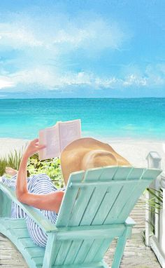 Summer reading by the sea. Painting of woman in a chair. Beach art