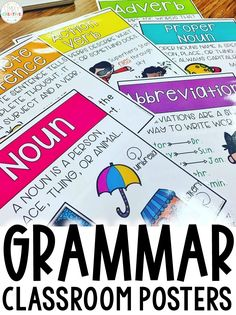 These grammar posters for elementary students are bright, fun posters for any classroom. Teachers will love the pictures, definitions, and charts that help kids remember the different parts of speech and word work skills. There are over 60 posters, including prefixes and suffixes, complex sentences, quotations marks, plural nouns, and more. They are great teaching tools for ESL students and English teachers!